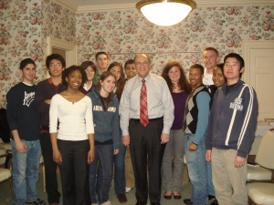State Rep. Lou Lang and University of Illinois students at their April 15th town hall meeting.