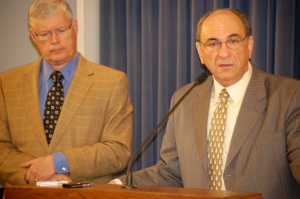 State Senator Bill Haine (D-Alton), left, State Rep. Lou Lang (D-Skokie)